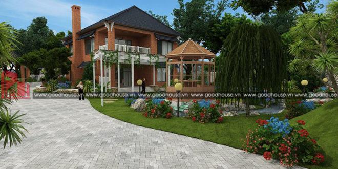 thiết kế biệt thự sần vườn 2 tầng đẹp