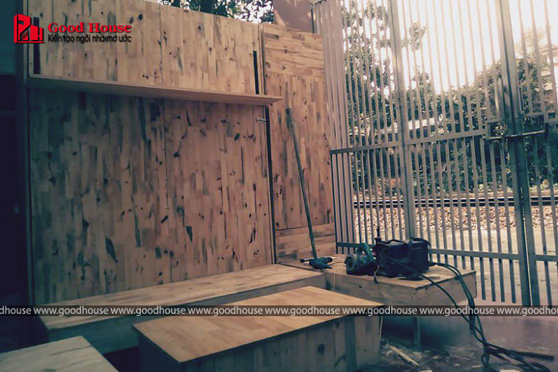 tủ gỗ ghép thanh hoàn thiện