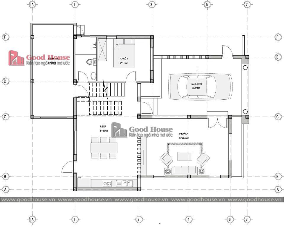 Mặt bằng tầng 1 mẫu nhà tân cổ điển 2 tầng