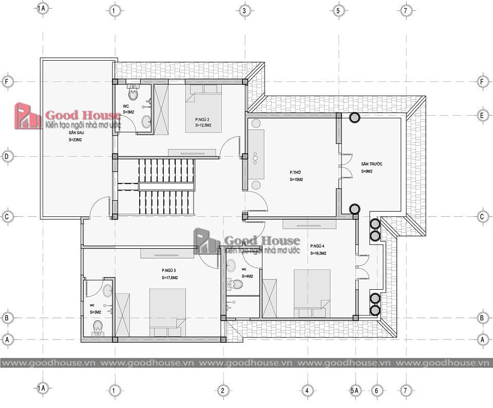 Mặt bằng tầng 2 mẫu nhà tân cổ điển